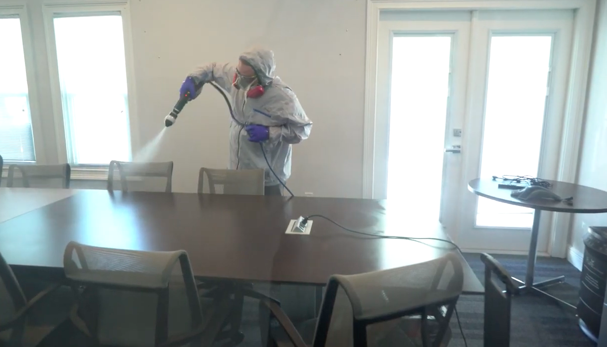 Disinfecting a conference room